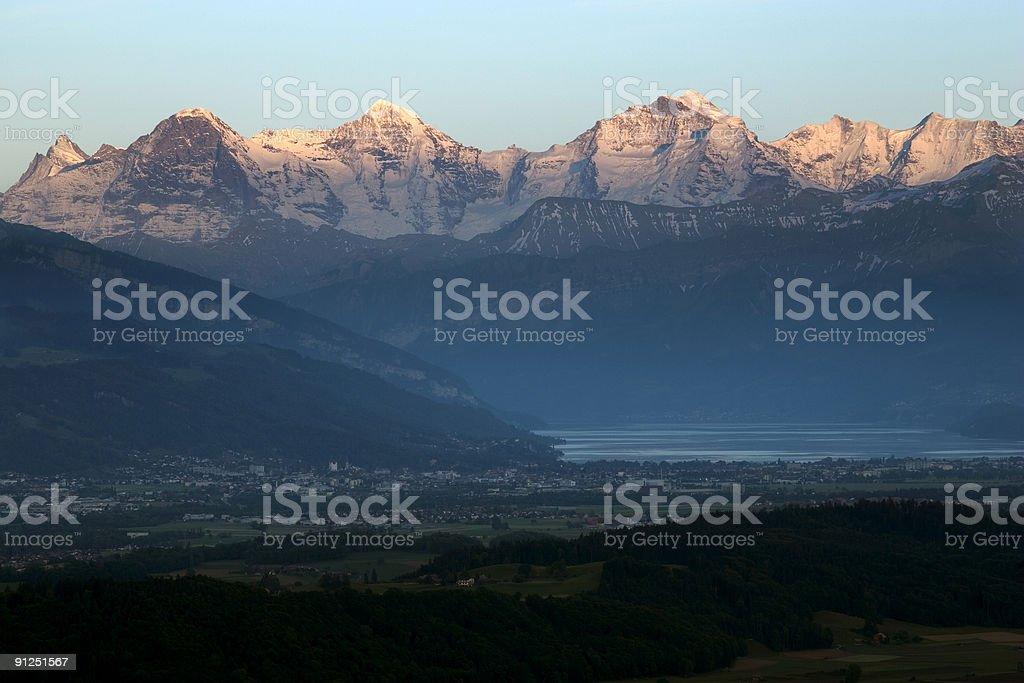 Sunset twilight over Lake Thun in Switzerland. stock photo