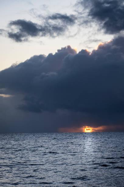Sunset Under Cloudy Sky stock photo