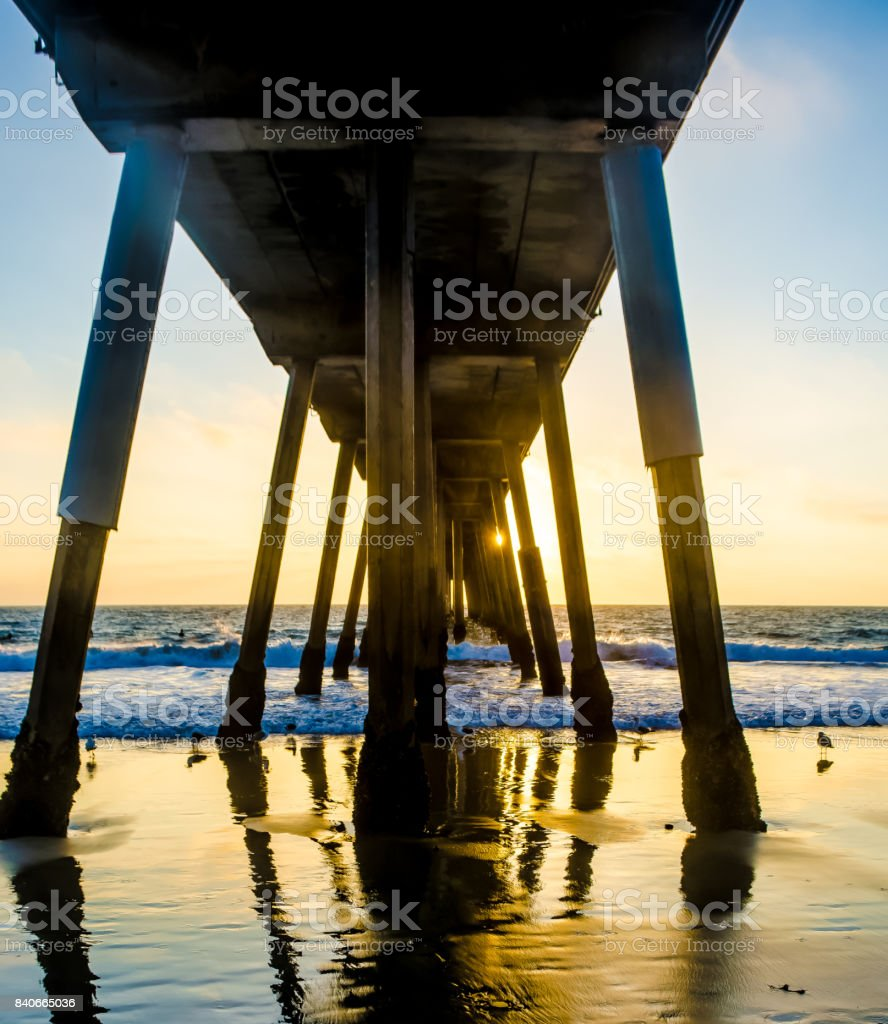 Sunset Under Hermosa Pier stock photo