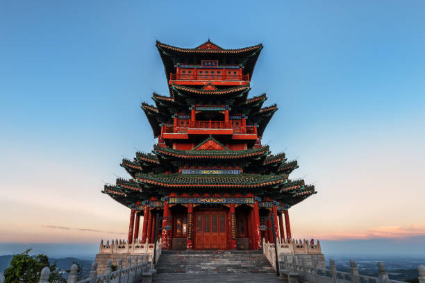 Sunset under the Beijing Pavilion House is very spectacular stock photo