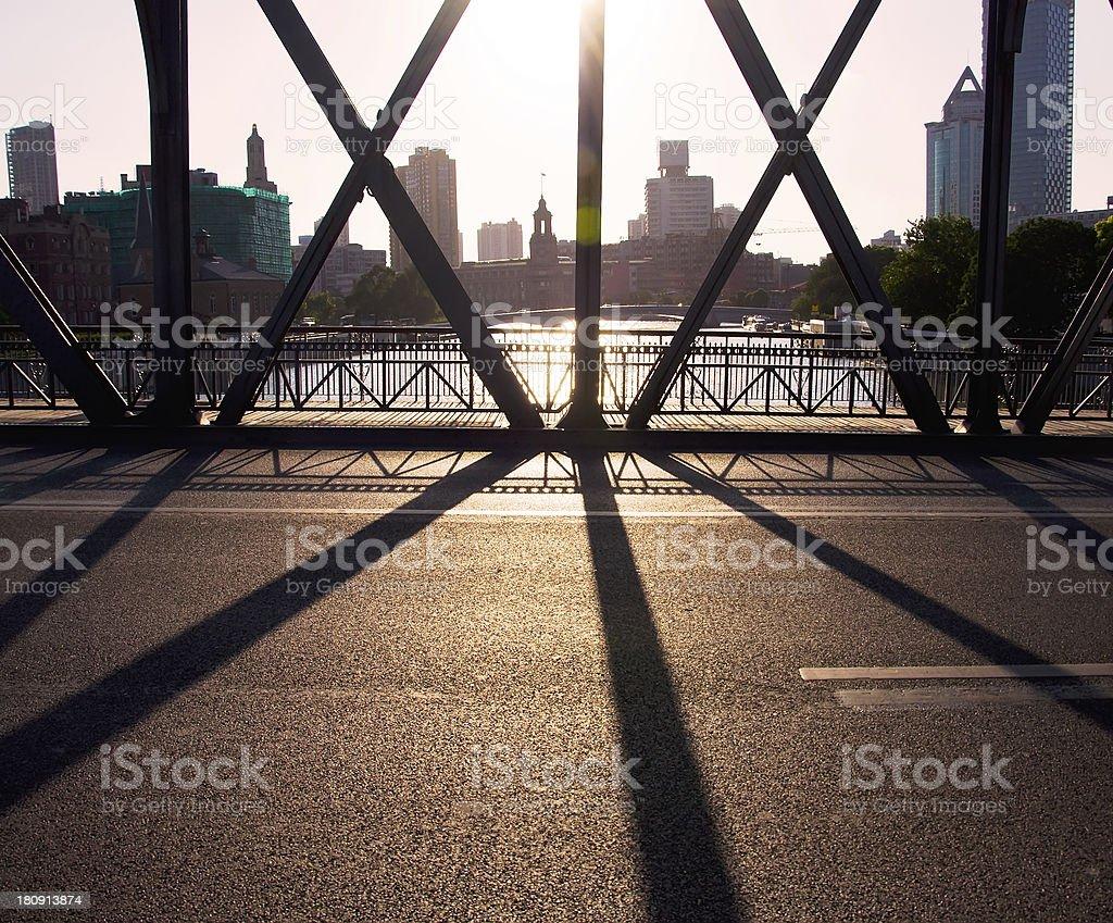 sunset under the bridge royalty-free stock photo