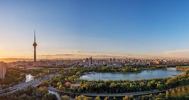 sunset under the china beijing tv tower - 北京 ストックフォトと画像