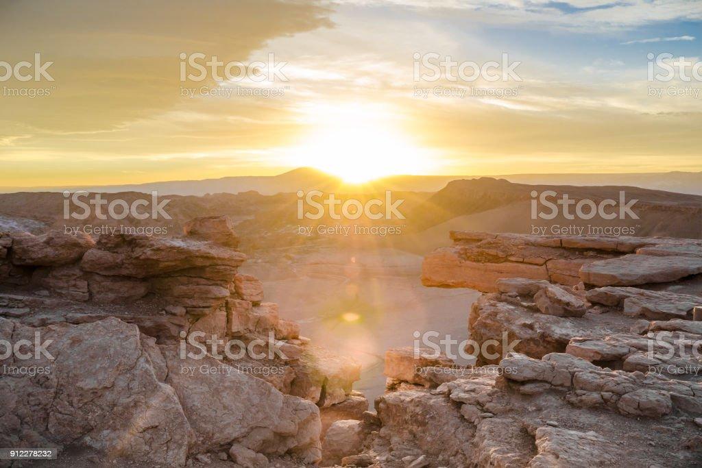 Sunset, Valle de la Luna (Moon Valley), Atacama Desert, Chile stock photo
