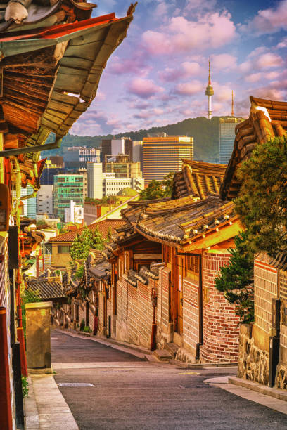 Sonnenuntergang Veiw Bukchon Hanok Village in Seoul, Südkorea – Foto