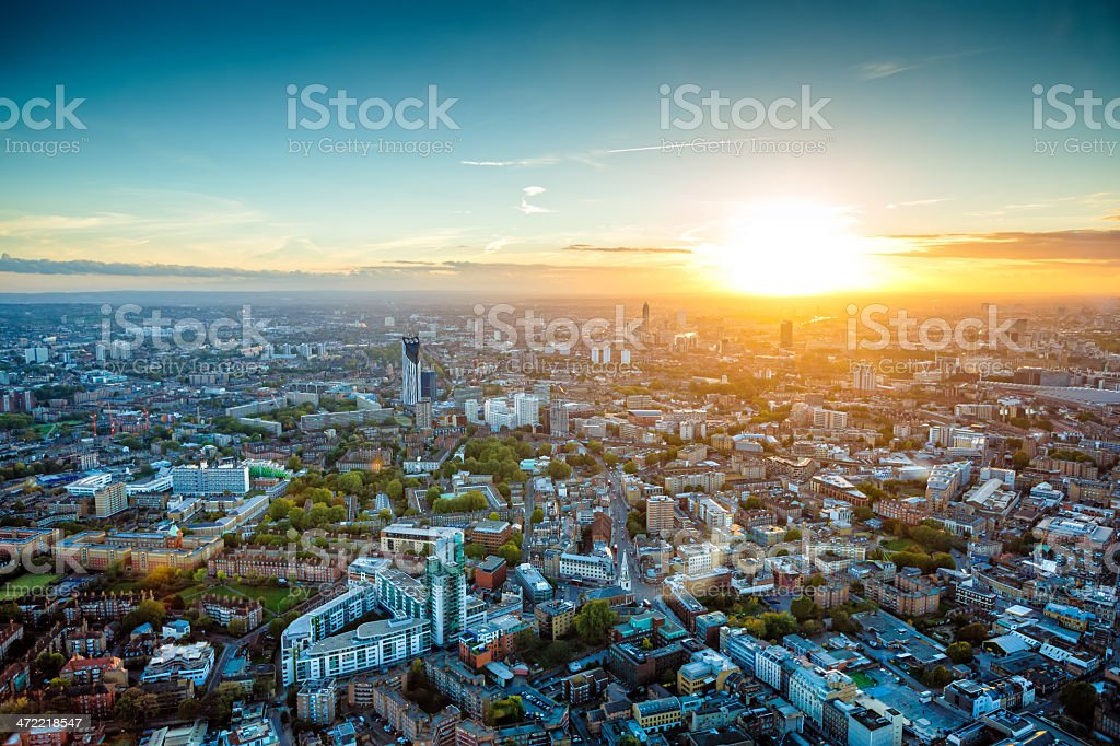 Sunset view at London, western part, UK stock photo