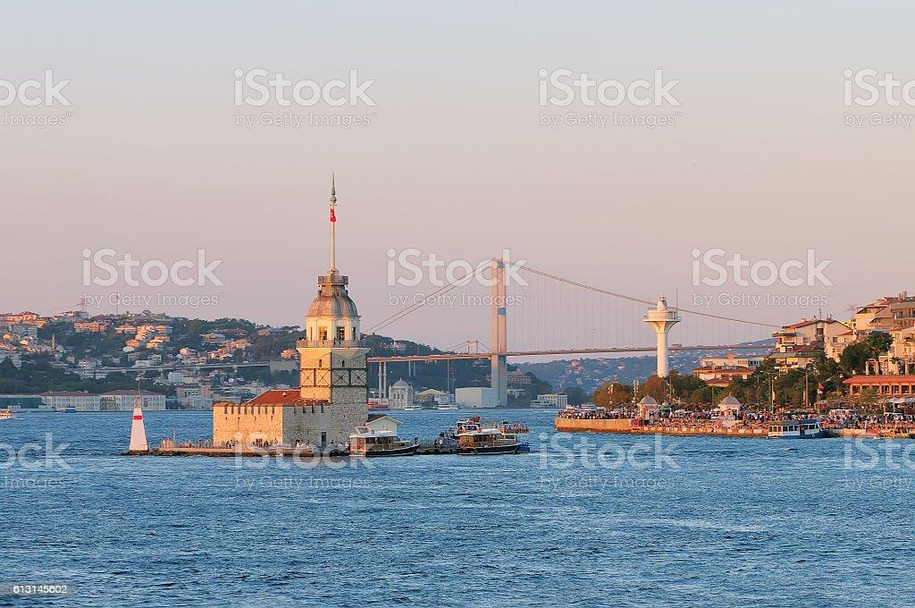 Sunset view at Maiden tower and Bosphorus bridge stock photo
