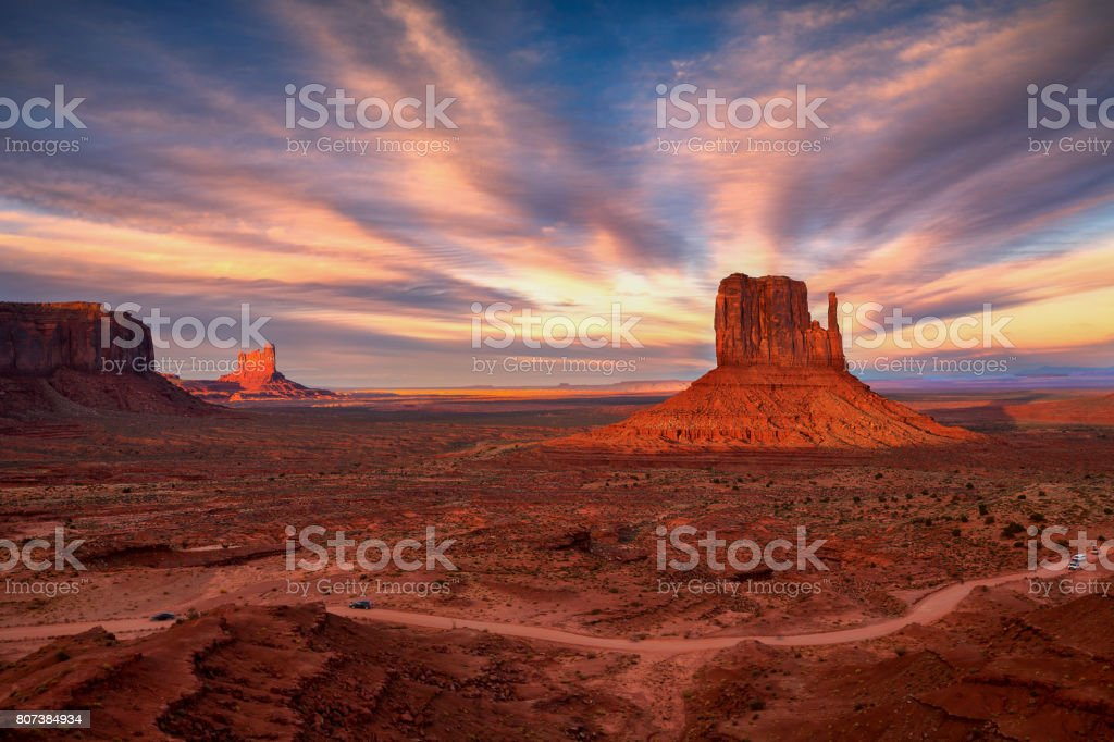 Sunset view at Monument Valley, Arizona, USA stock photo
