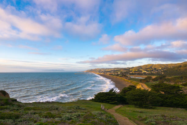Sunset view at Mori Point over the coastline and Pacific Ocean, Golden Gate National Recreation Area, Mori Point Road, Sharp Park, Pacifica, California, USA, North America stock photo
