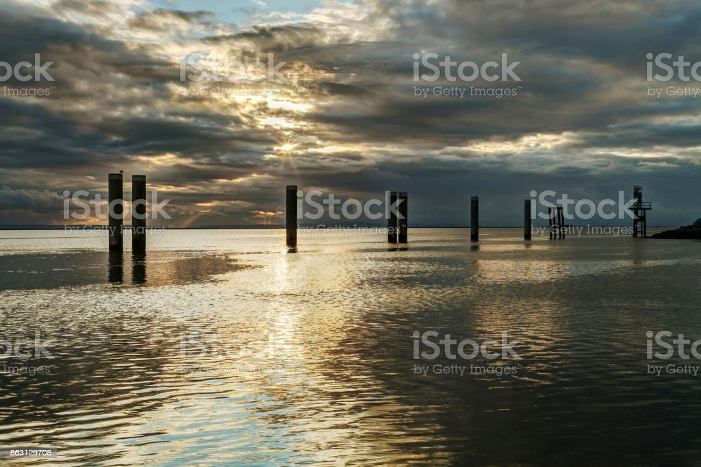 sunset view at seaside stock photo