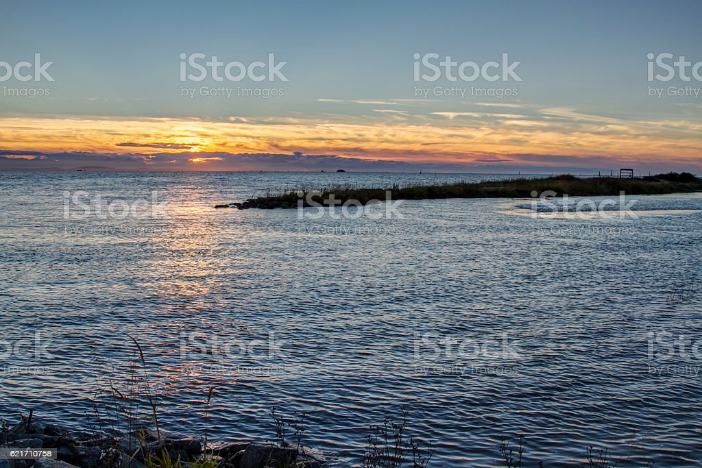 sunset view by the sea stock photo