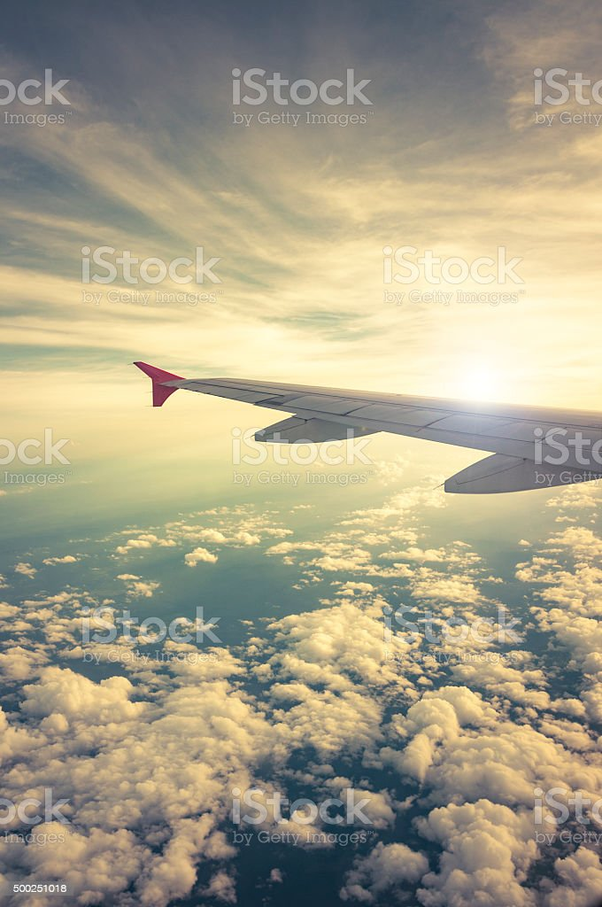 Sunset View From An Airplane stock photo