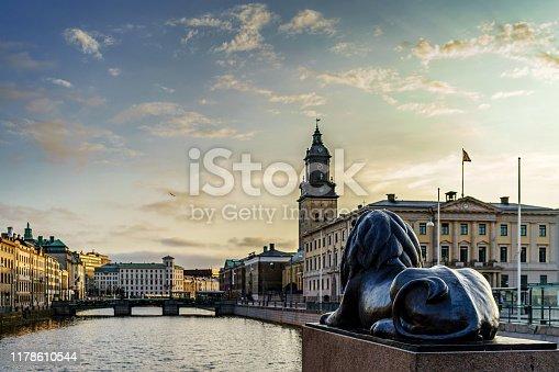 Sunset view from Burunnsparken city centre of Gothenburg