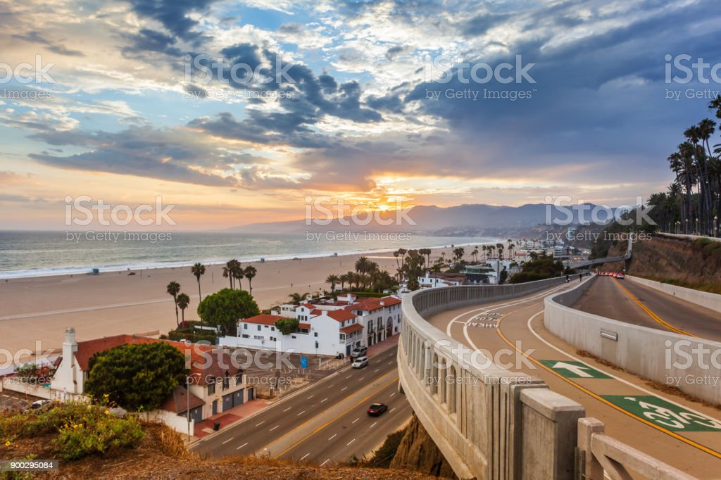 Sunset view from california incline stock photo
