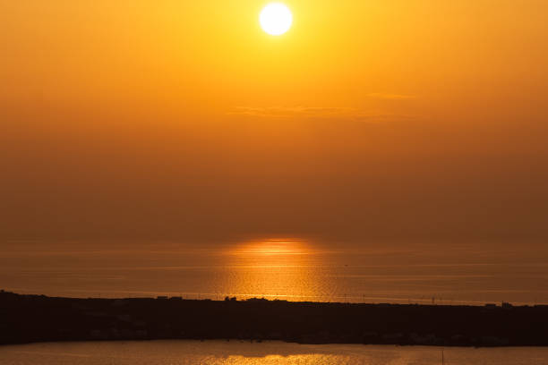 Sunset view from in Santorini stock photo