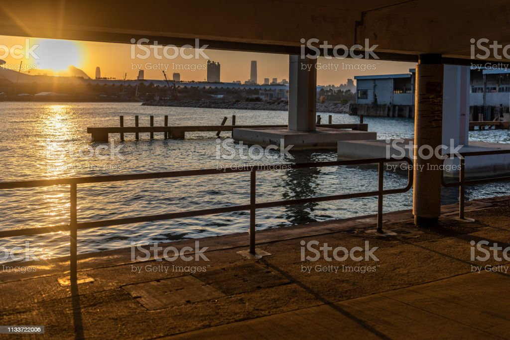 Sunset view from Kwun Tong Promenade stock photo