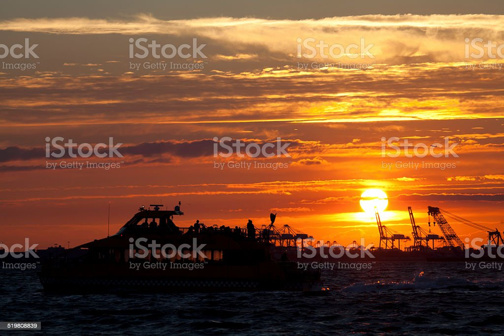 Sunset view from Louis Valentino Junior Park in NYC stock photo