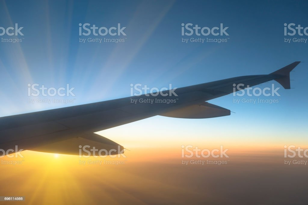 Sunset, view from the airplane stock photo