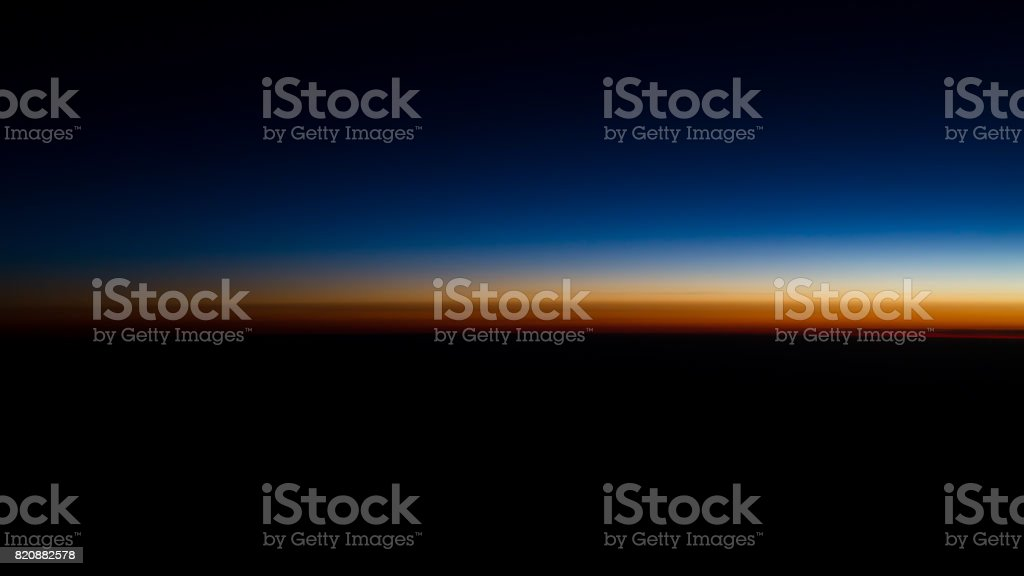 sunset view from the airplane stock photo