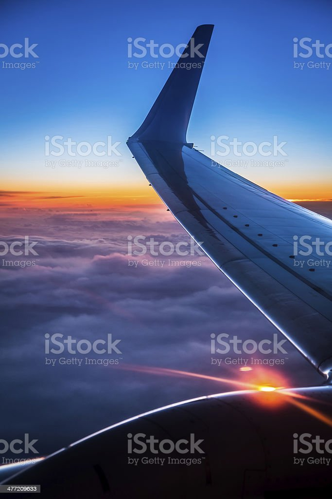 Sunset view from the airplane window royalty-free stock photo