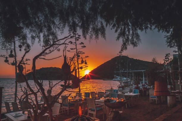 Sunset view from the Gümüşlük, Bodrum, Turkey stock photo