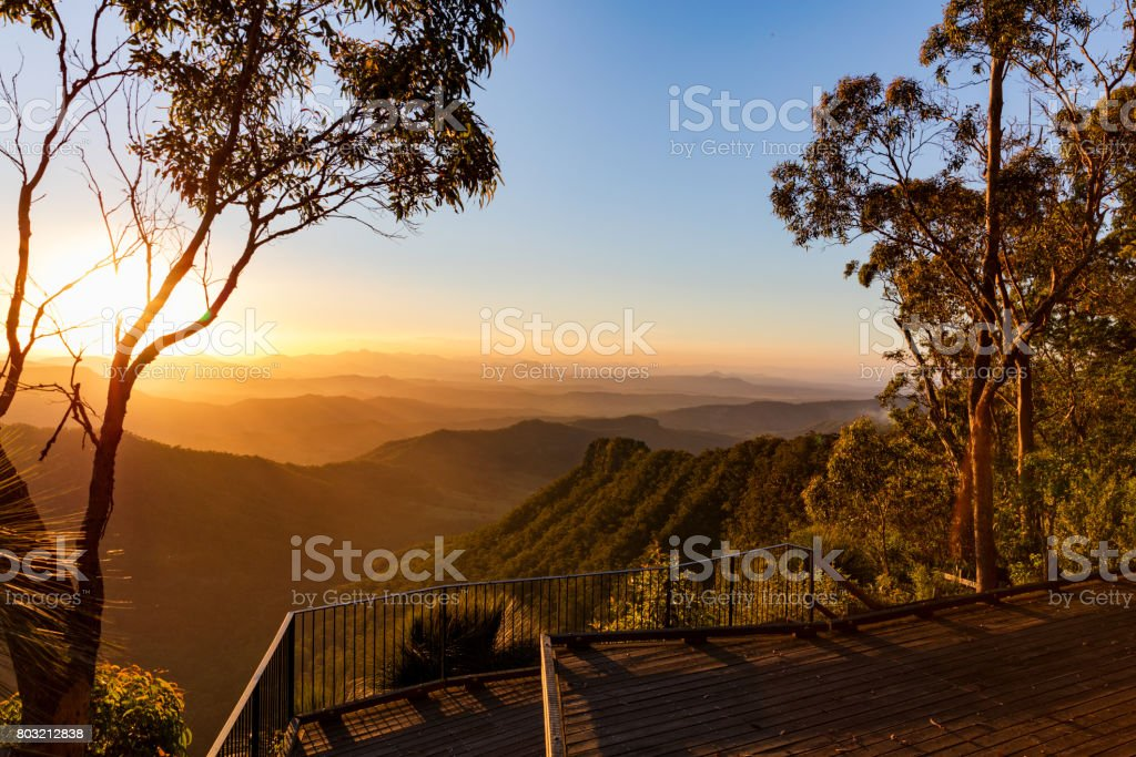Sunset view from the Gold Coast hinterland stock photo