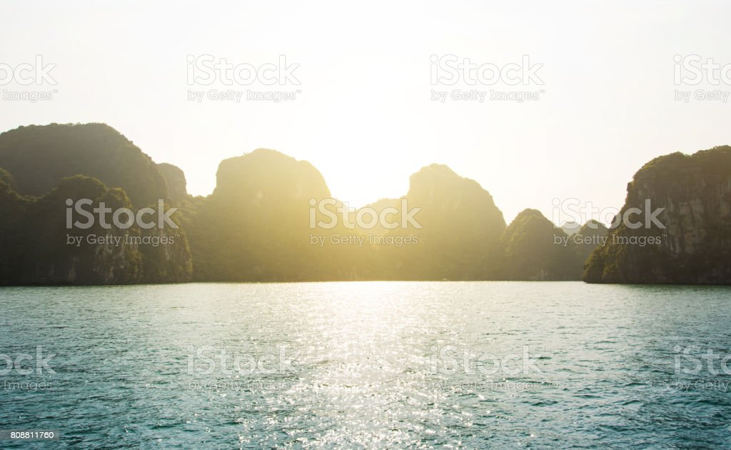 Sunset view from the Halong bay cruise in Vietnam stock photo