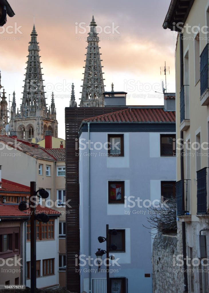 Sunset view from the historic center with the cathedral in the background. stock photo