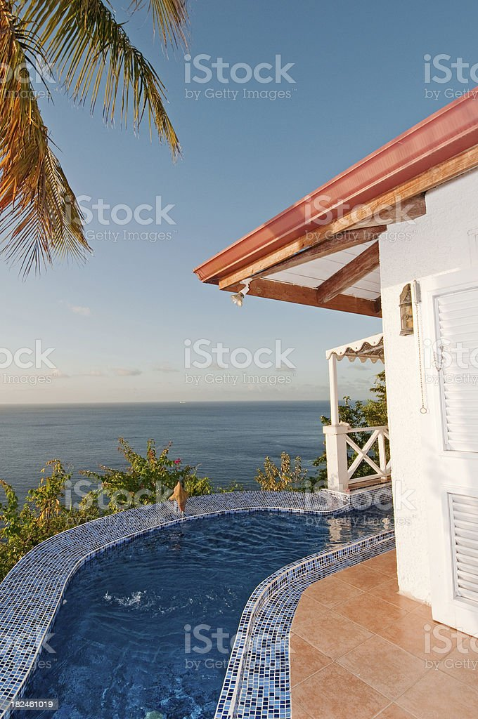 Sunset view from tropical villa royalty-free stock photo