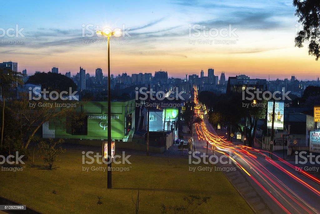 Sunset view in Curitiba stock photo