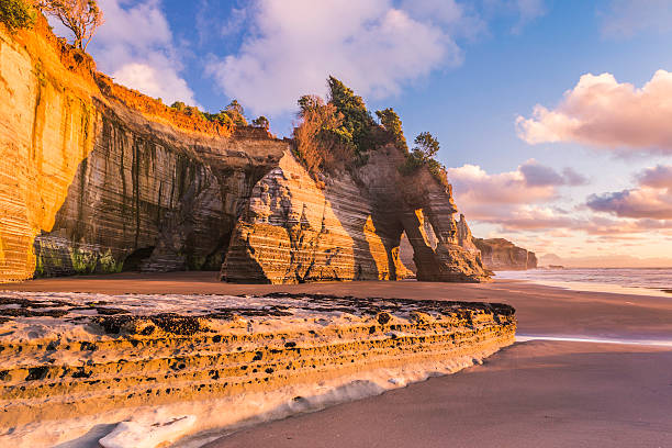 Sunset view of a rocky coast stock photo
