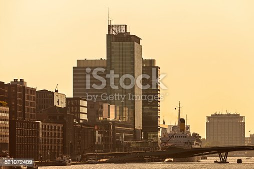 Sunset view of Amsterdam with modern buildings alongside the river IJ