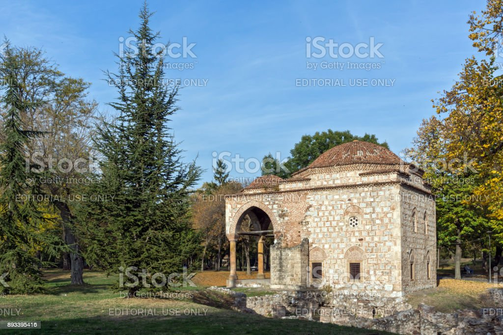 Sunset view of Bali Beg Mosque in Fortress of City of Nis, Serbia stock photo