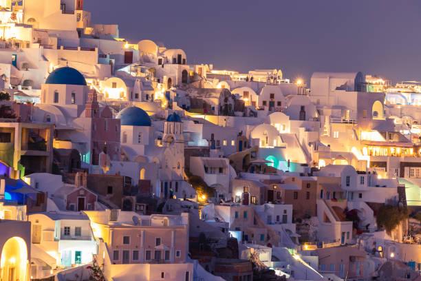 sunset view of beautiful Oia Santorini stock photo