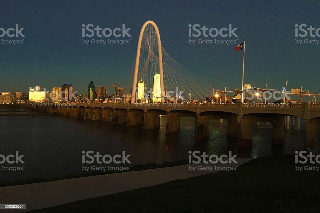 Sunset view of bridge into Dallas stock photo
