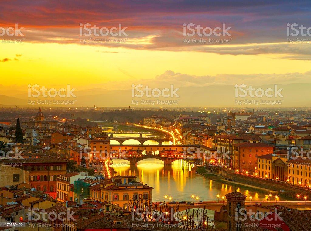 Sunset view of bridge Ponte Vecchio. Florence, Italy stock photo