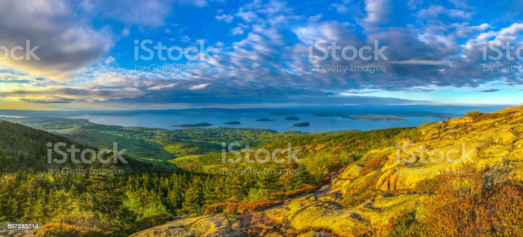 Sunset view of Cadillac Mountians and the Islands stock photo
