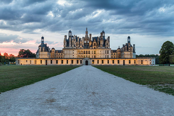 sunset view of chambord castle - loire - france - castle stock pictures, royalty-free photos & images