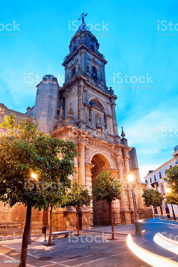 Sunset view of Church of San Miguel. Jerez de Frontera stock photo