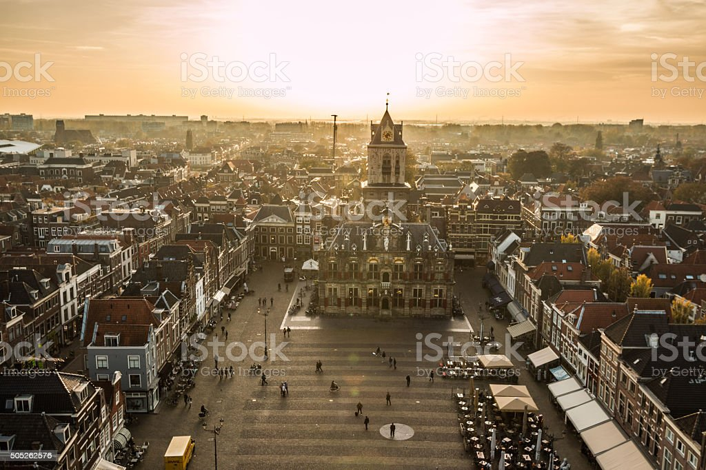 Sunset view of Delft old town square in the Netherlands stock photo