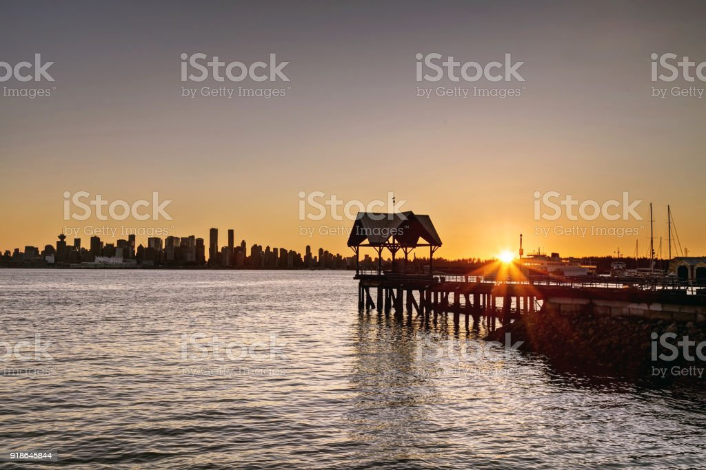 sunset view of downtown Vancouver from North Vancouver, BC, Canada stock photo