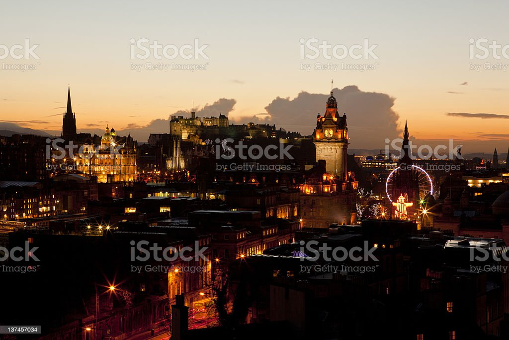 Sunset view of Edinburgh royalty-free stock photo