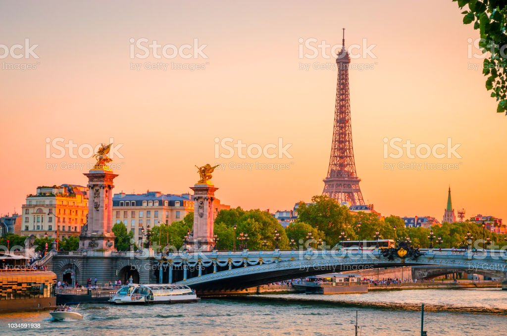 Sunset View Of Eiffel Tower Alexander Iii Bridge And River