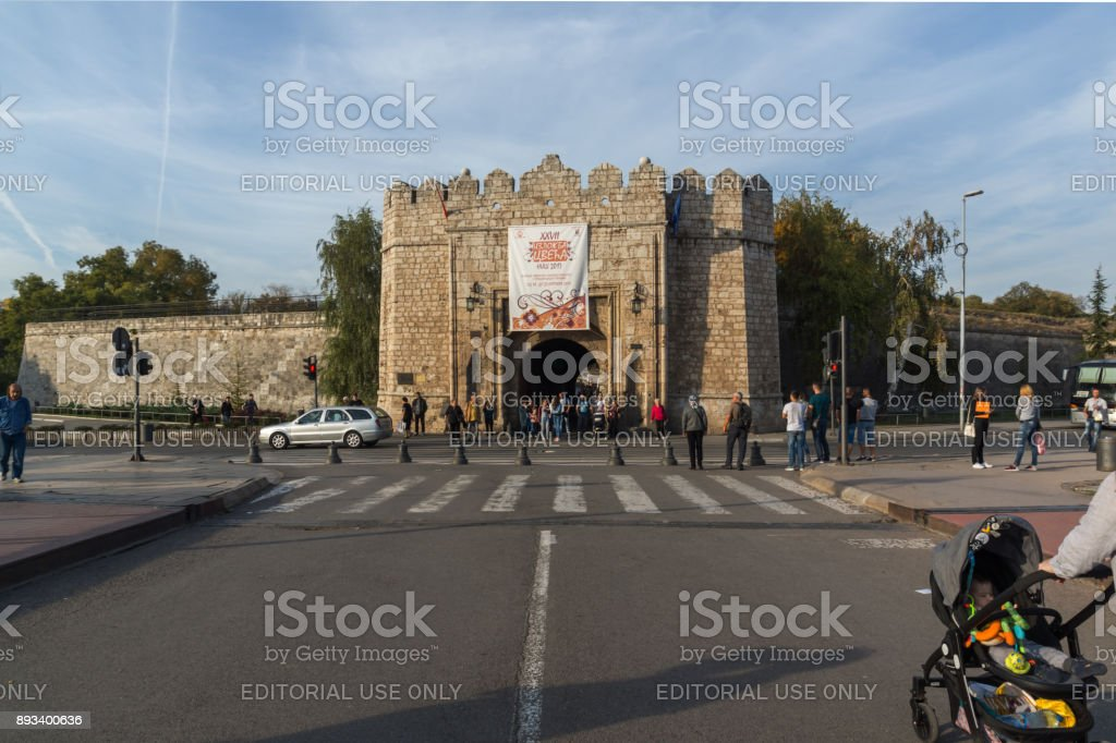 Sunset view of entrance of Fortress of city of Nis, Serbia stock photo
