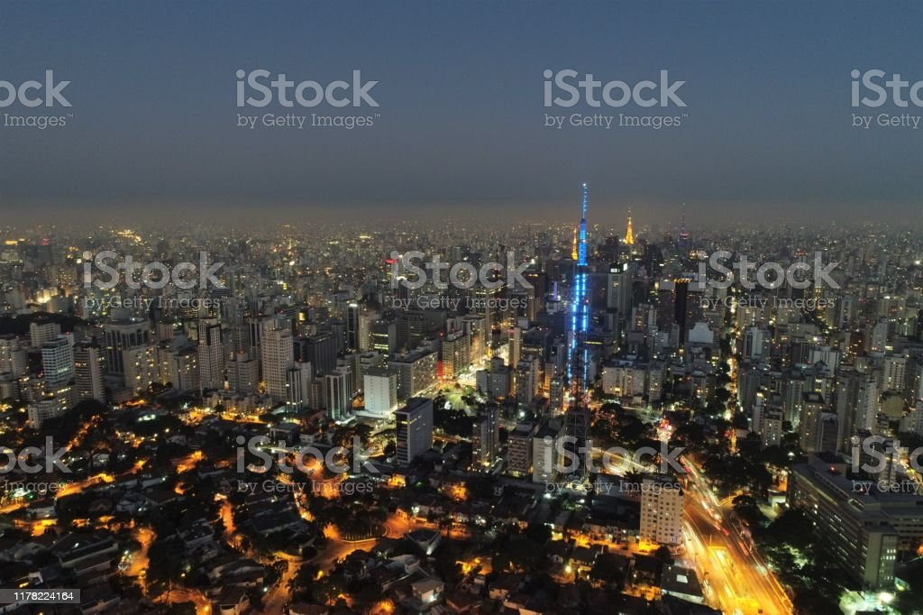Sunset View Of Famous Places Of Sao Paulo Brazil Fantastic Landscape Region Of Pacaembu Avenue Consolacao Avenue And Arnaldo Doctor Avenue Stock Photo Download Image Now Istock