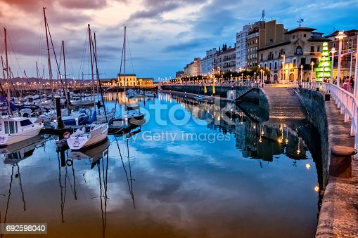 istock Sunset view of Gijon old Port, Asturias, Spain 692598040