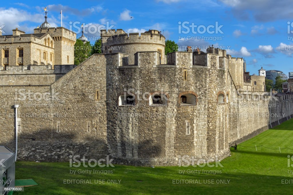 LONDON, ENGLAND - JUNE 15 2016: Sunset view of Historic Tower of London, England stock photo