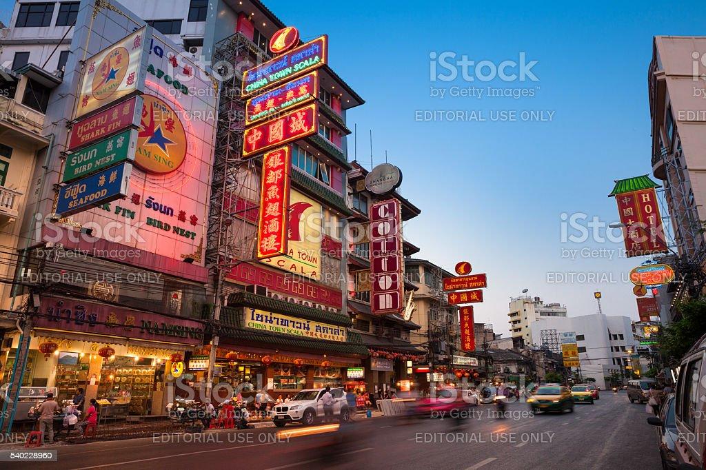 Sunset view of illuminated Yaowarat road, Bangkok royalty-free stock photo