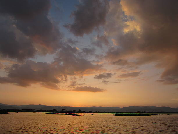 Sunset view of Inle Lake stock photo