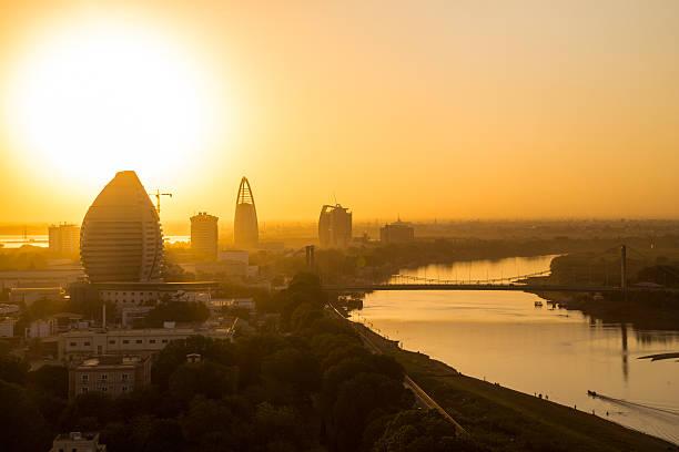 sunset view of khartoum, sudan - sudan stock photos and pictures
