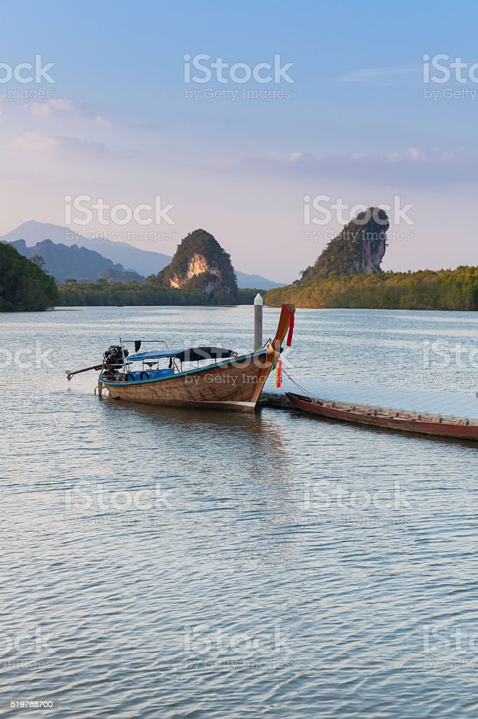 Sunset view of Krabi River, Krabi Town, Thailand royalty-free stock photo